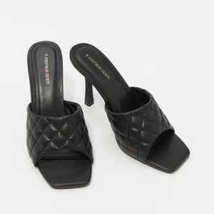 Faux-Leather Quilted Band Stiletto Mule